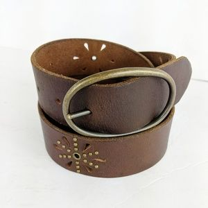 American Eagle AEO Brown Leather Belt Cut Out L
